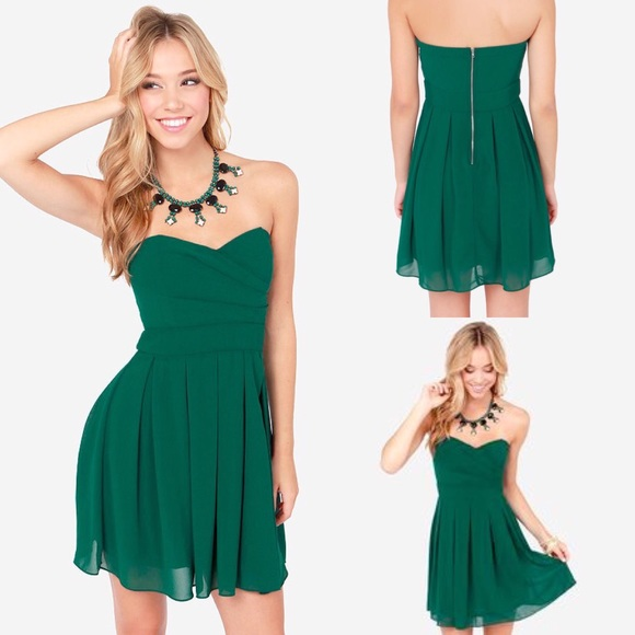 Lulus Dresses Lulus Strapless Green Chiffon Semiformal Dress